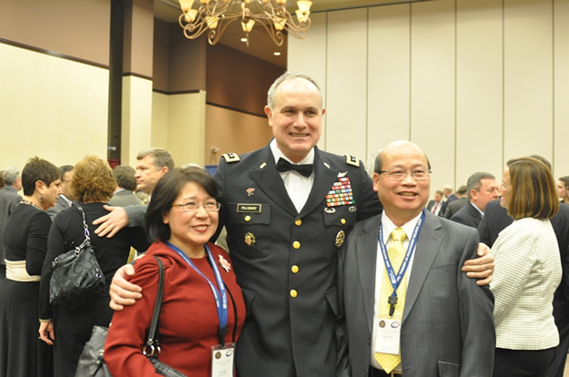 PRE-AWARD PARTY February 11, 2010, Lieutenant General James Pillsbury congratulates Mr. and Mrs. Hong on Hontek' s winning of the 2009 AAAA Material Readiness Award for Contributions by a Small Business.