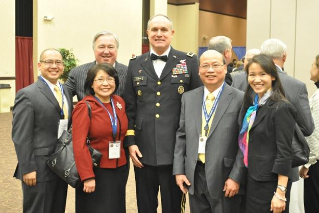 Lieutenant General James Pillsbury with (left to right) Jeff Hong, Joanne Hong, Tom O'Connor, Shek Hong and Andrea Hong.