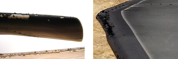 These photos show that even with sever coating damages, the aircraft can continue to fly safely and the coating damages can be repaired very quickly.  An example was Black Hawk aircraft #834.  It participated in a water rescue operation over several days in Iraq in 2006.  The heavy water erosion caused coating damages, especially on the outboard sections.   With Hontek repair kits, the damaged coatings were quickly restored to like-new conditions.  The aircraft continued to fly for a total of 684 hours and returned home in excellent condition.